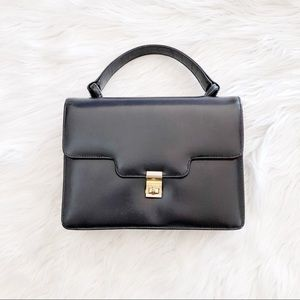 Vintage Small Mini Black Gold Clasp Handbag